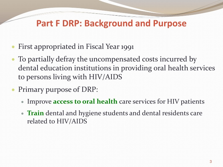 Part F DRP: Background and Purpose