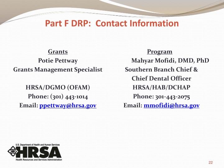 Part F DRP: