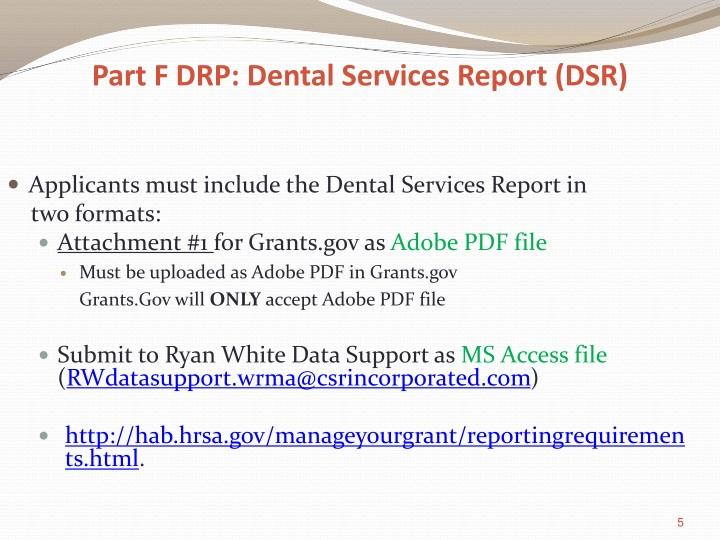 Part F DRP: Dental Services Report (DSR)