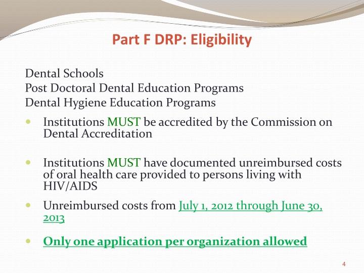Part F DRP: Eligibility