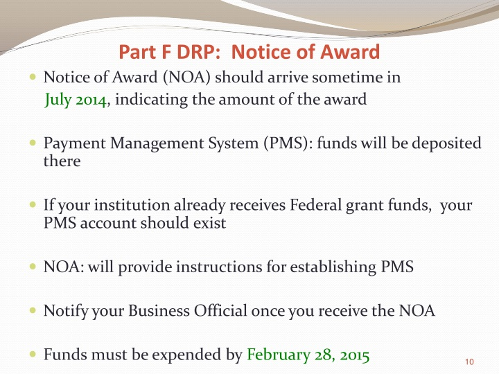 Part F DRP:  Notice of Award