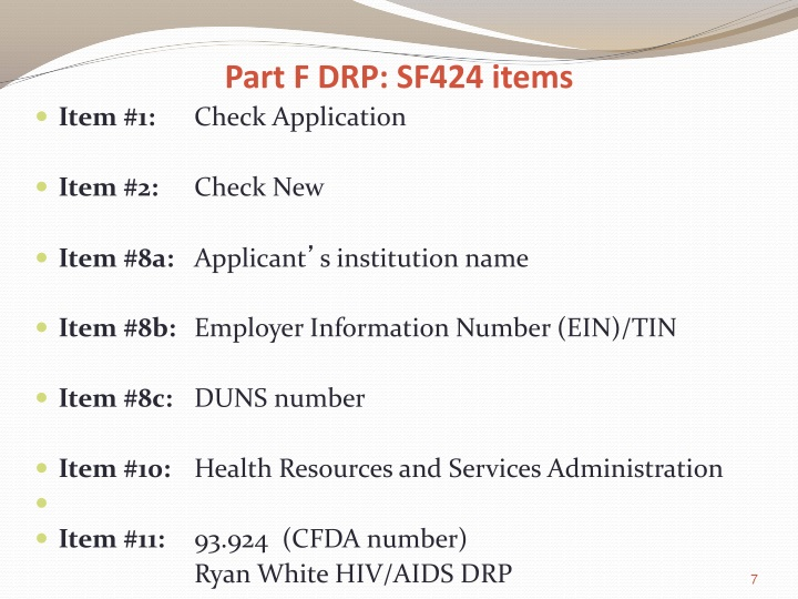 Part F DRP: SF424 items