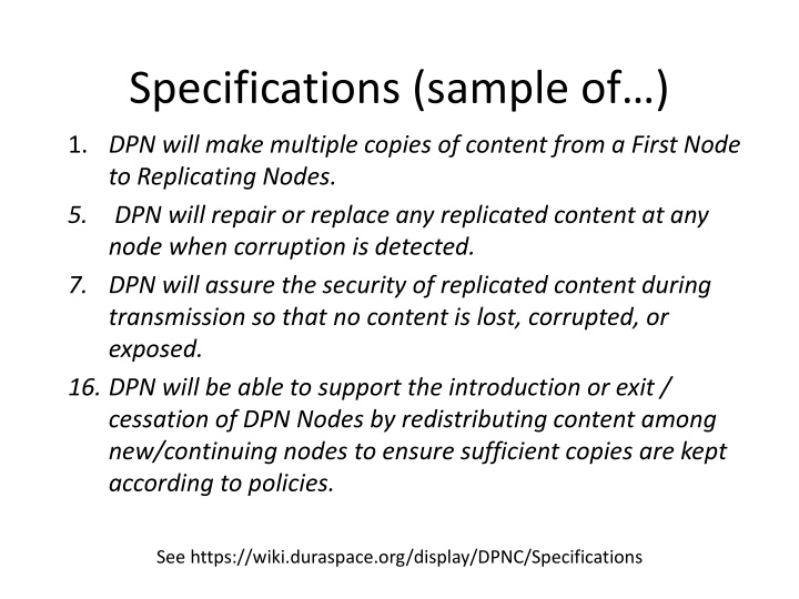 Specifications (sample of…)
