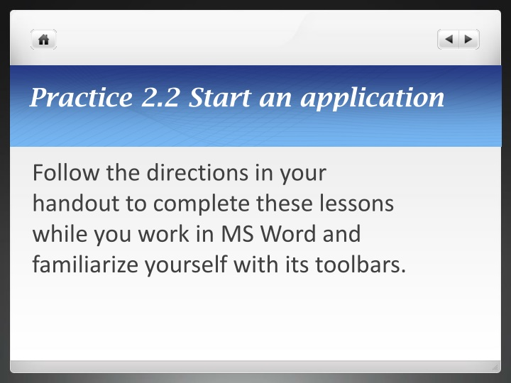 Practice 2.2 Start an application