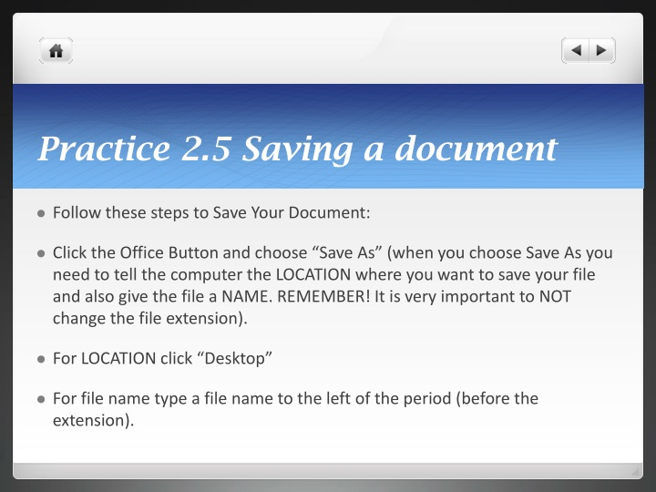 Practice 2.5 Saving a document