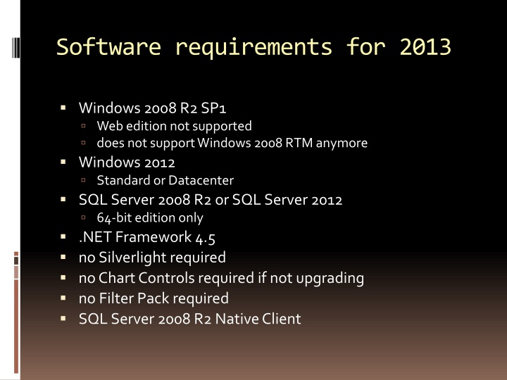 Software requirements for 2013