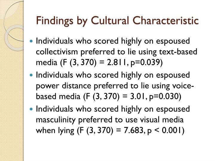Findings by Cultural Characteristic