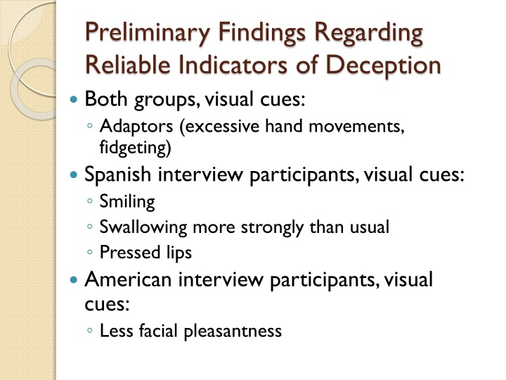 Preliminary Findings Regarding Reliable Indicators of Deception