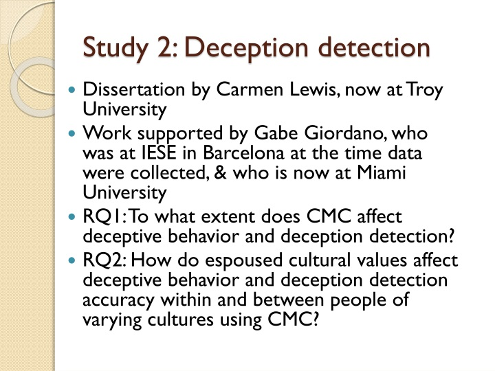 Study 2: Deception detection