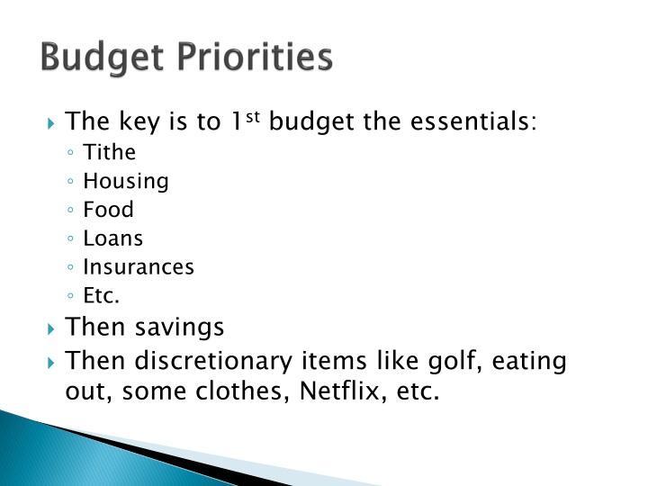 Budget Priorities