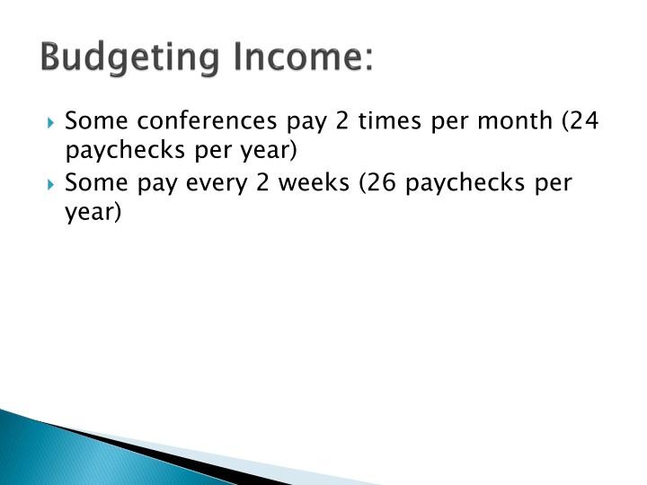 Budgeting Income: