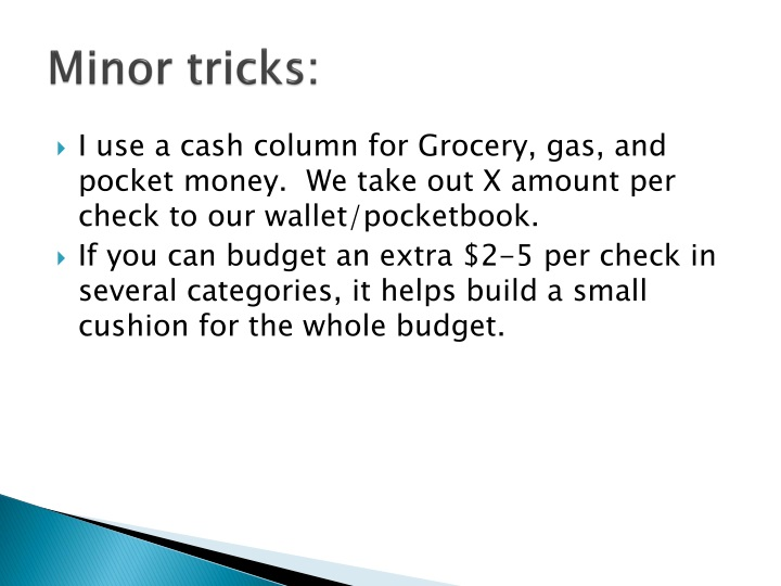 Minor tricks: