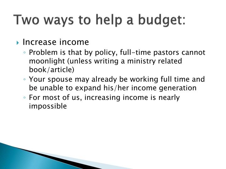 Two ways to help a budget: