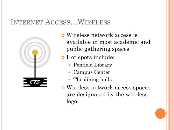 Internet Access…Wireless