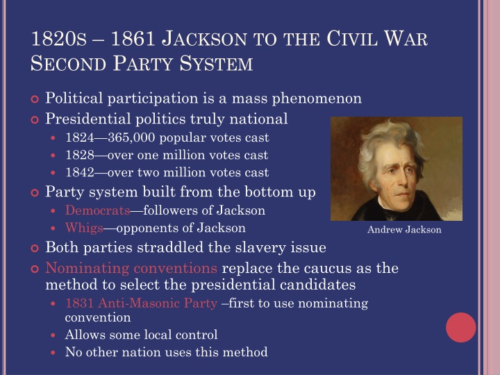 1820s – 1861 Jackson to the Civil War
