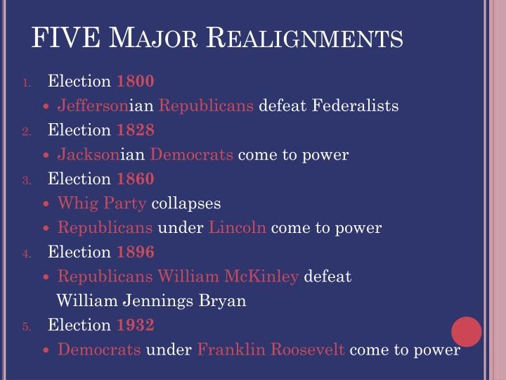FIVE Major Realignments