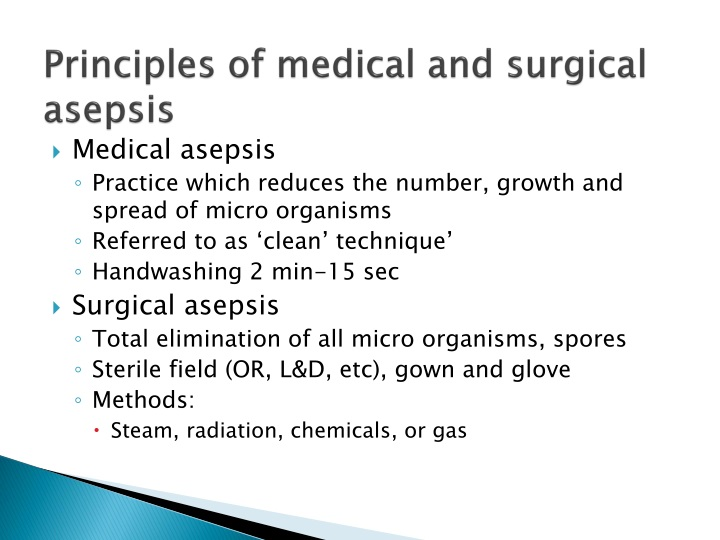 Principles of medical and surgical asepsis