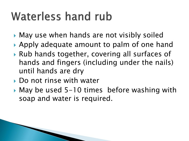 Waterless hand rub