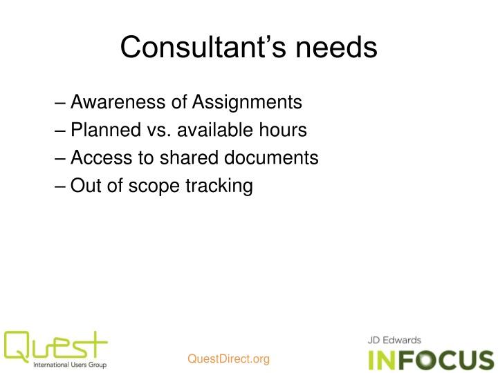 Consultant's needs
