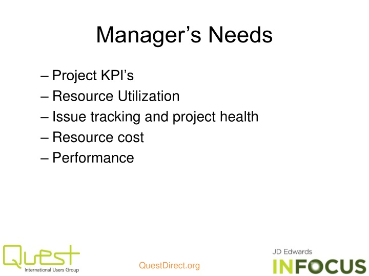 Manager's Needs