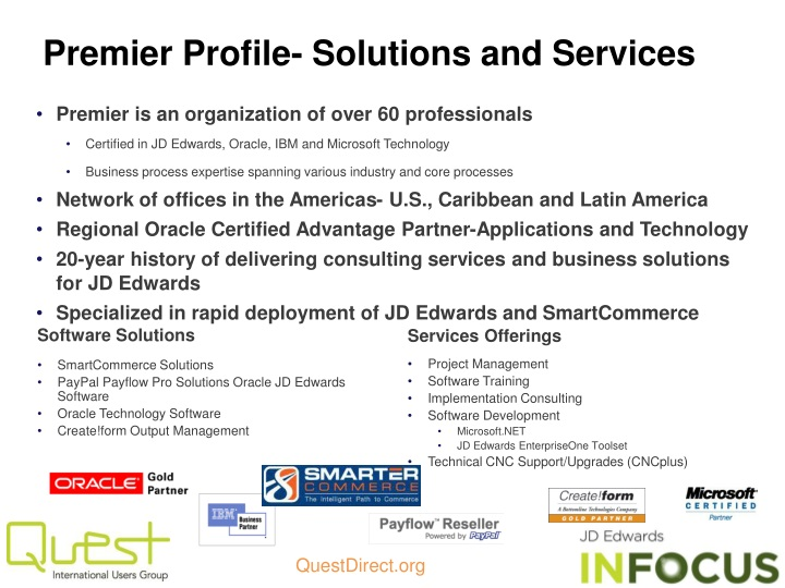 Premier Profile- Solutions and Services