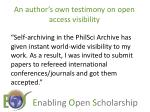 an author s own testimony on open access visibility