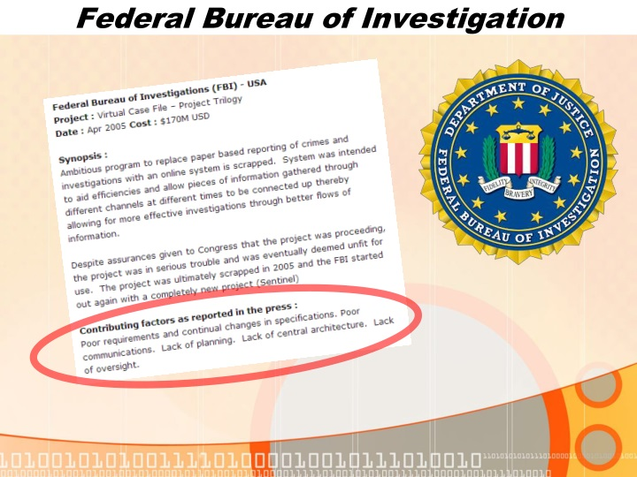 fbi and the virtual case file The problem with that software, known as vcf (virtual case file)  the acs only serves as a backup to the fbi's paper file system [and].