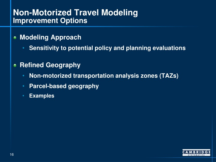 Non-Motorized Travel Modeling
