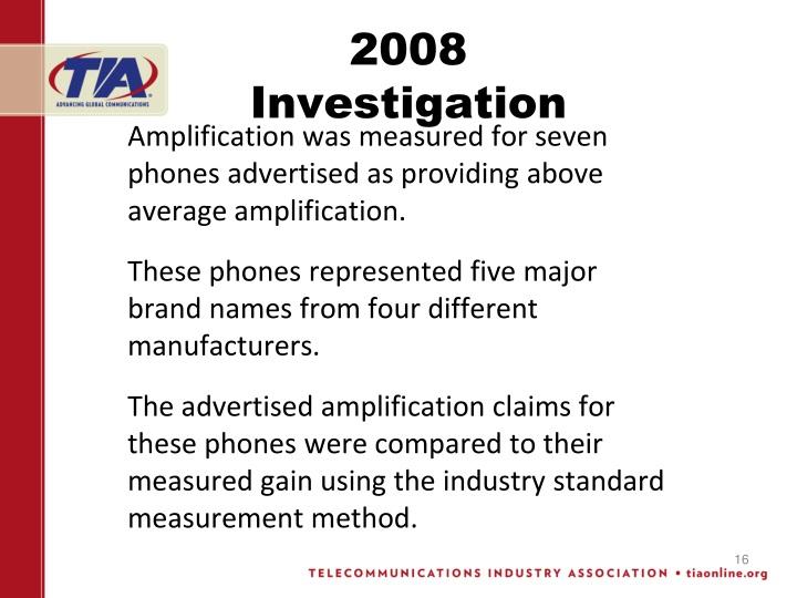 2008 Investigation