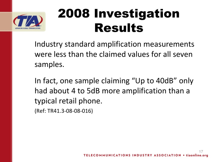 2008 Investigation Results