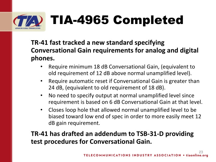 TIA-4965 Completed