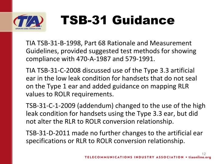 TSB-31 Guidance