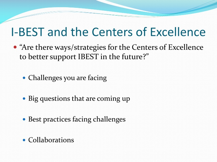 I-BEST and the Centers of Excellence