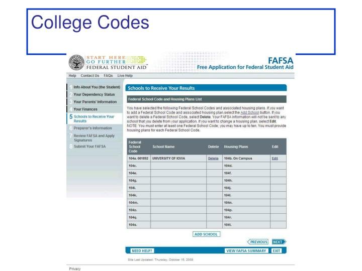 College Codes