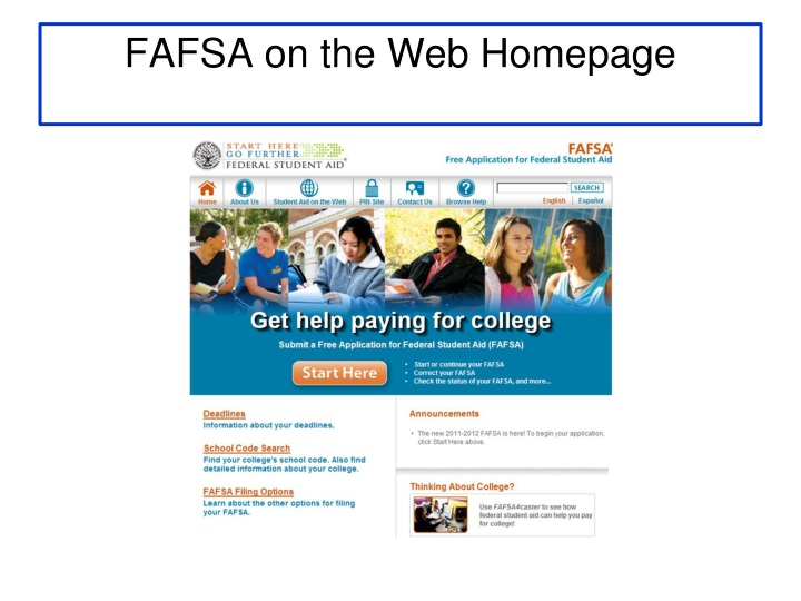 FAFSA on the Web Homepage