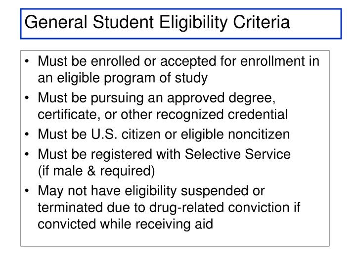 General Student Eligibility Criteria