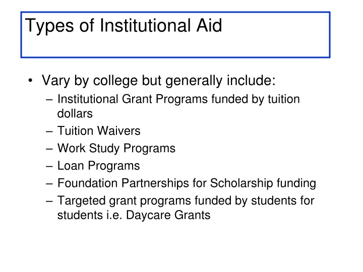 Types of Institutional Aid