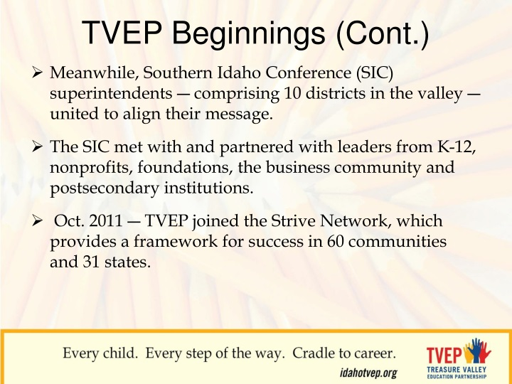 TVEP Beginnings (Cont.)