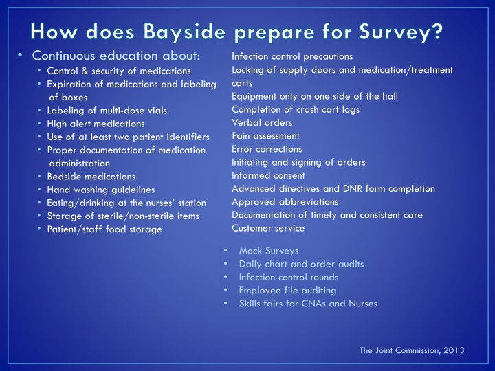 How does Bayside prepare for Survey?