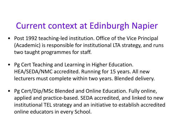Current context at Edinburgh Napier