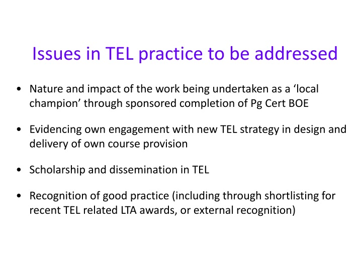 Issues in TEL practice to be addressed