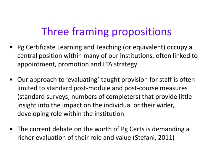 Three framing propositions
