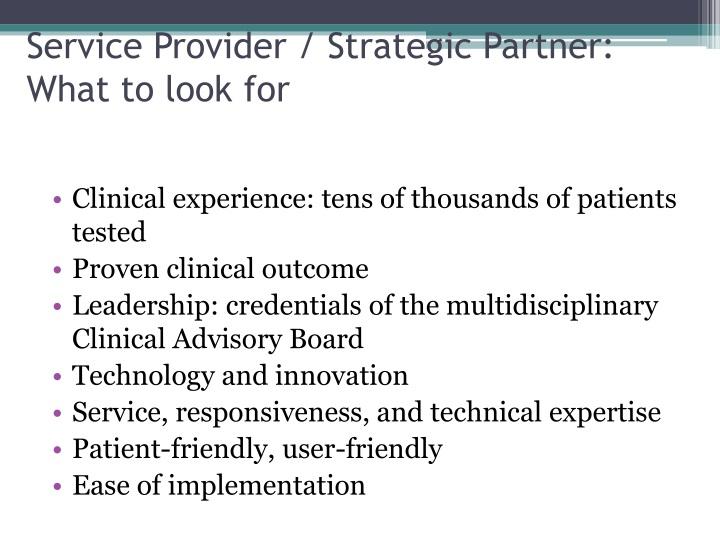 Service Provider / Strategic Partner: