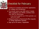 checklist for february