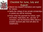 checklist for june july and august