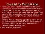 checklist for march april
