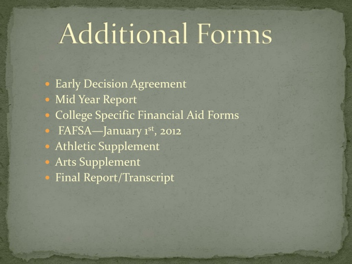 Additional Forms