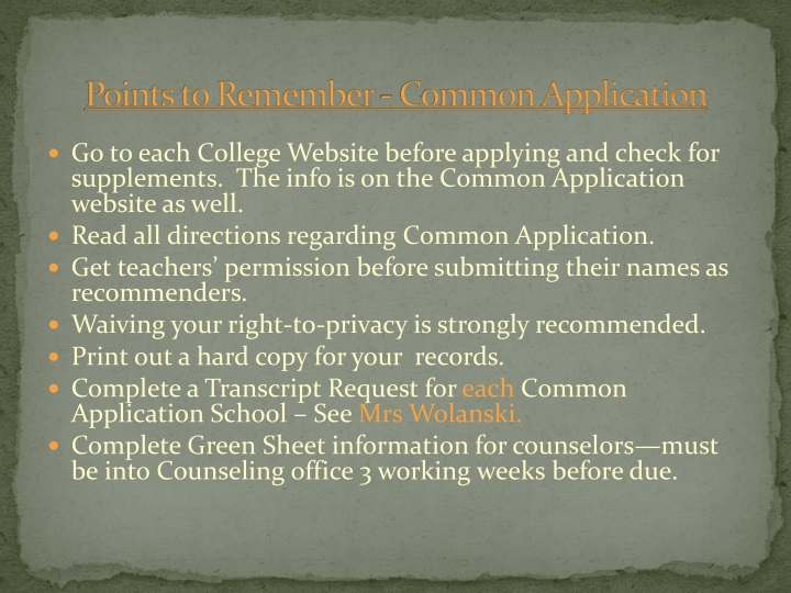 Points to Remember - Common Application
