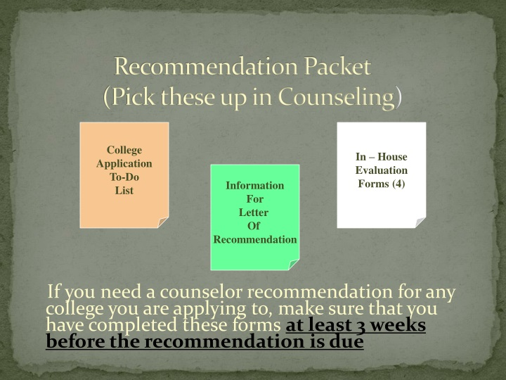 Recommendation Packet