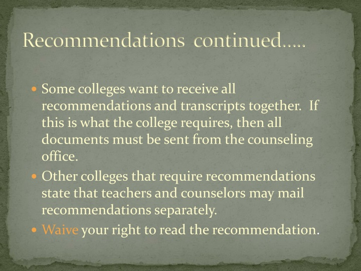 Recommendations  continued…..